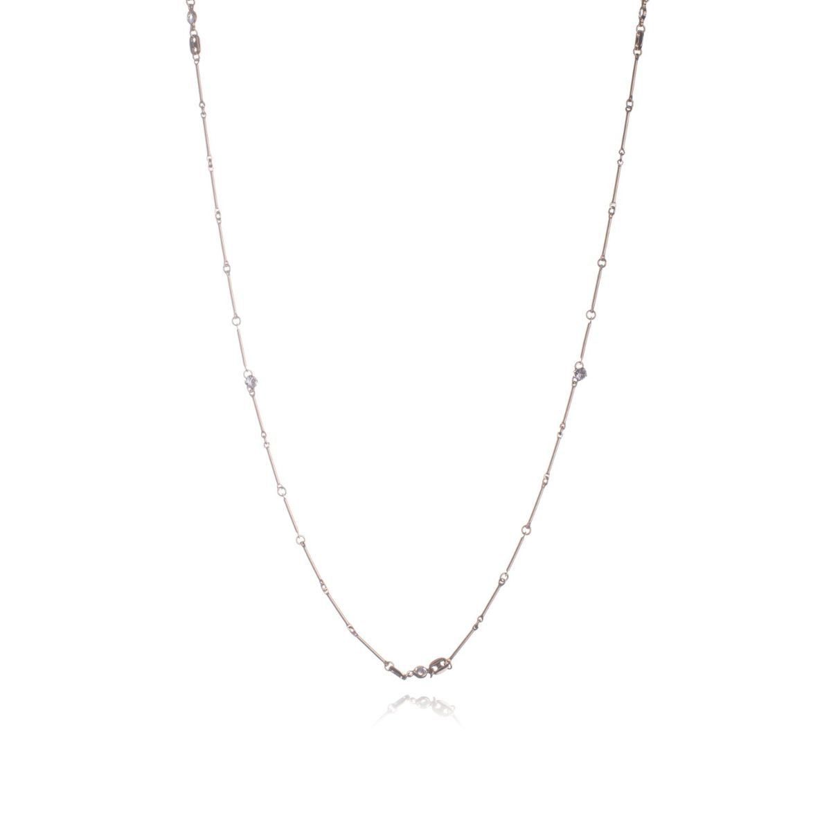 Viena long thin 8 carat gold plated copper necklace with circles and white zircons set