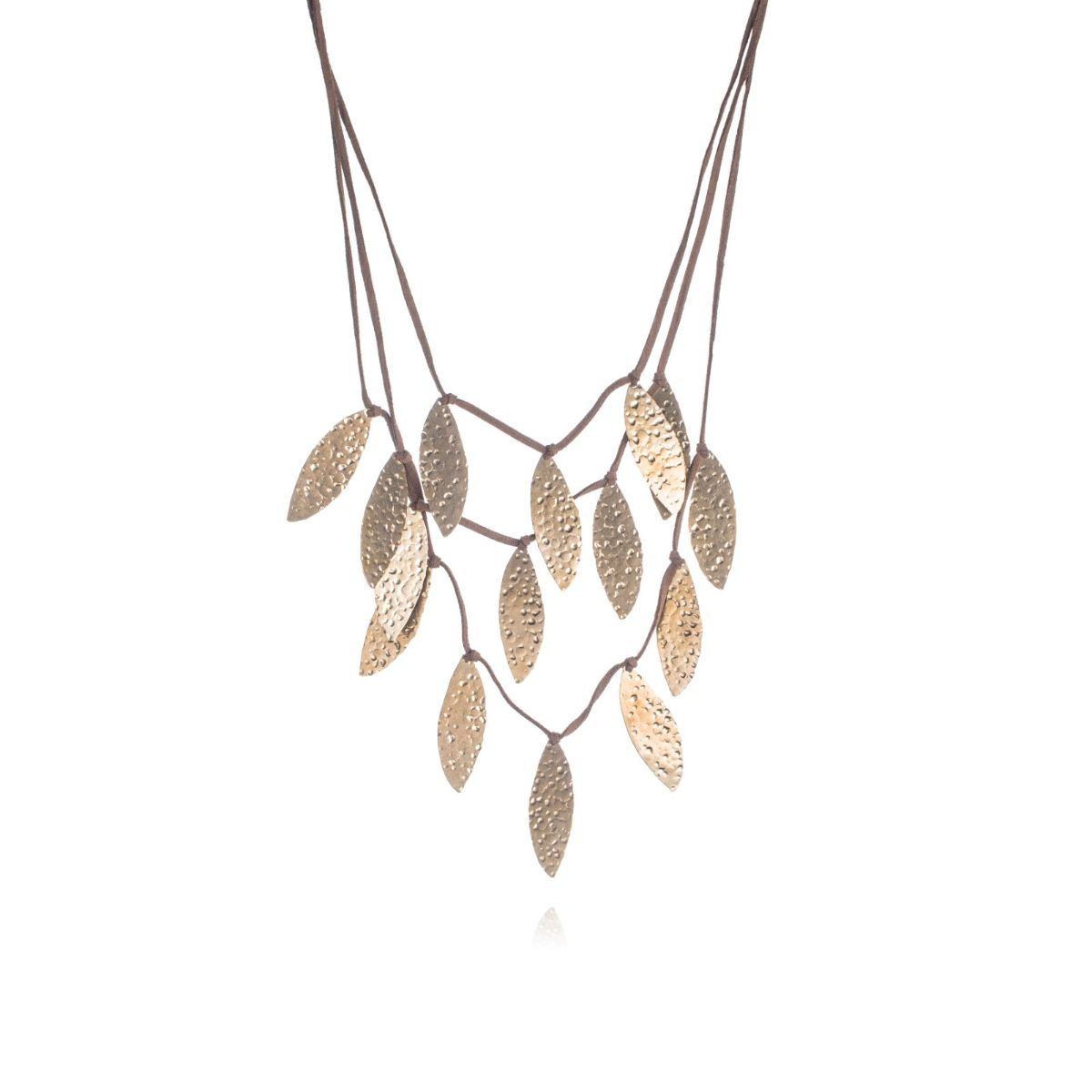 Sauce three-strand long suede necklace with gold-plated crushed leaf brass pieces.