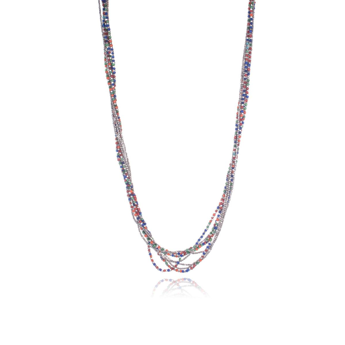 Pompeii long necklace of multi-strand silver and multicolored beads