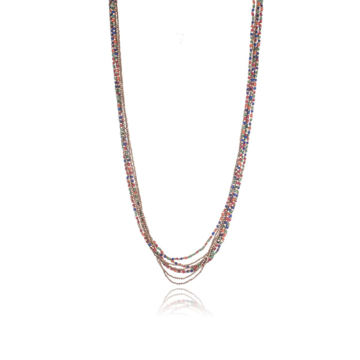 Pompeii long necklace of multi-strand gold and multi-colored beads