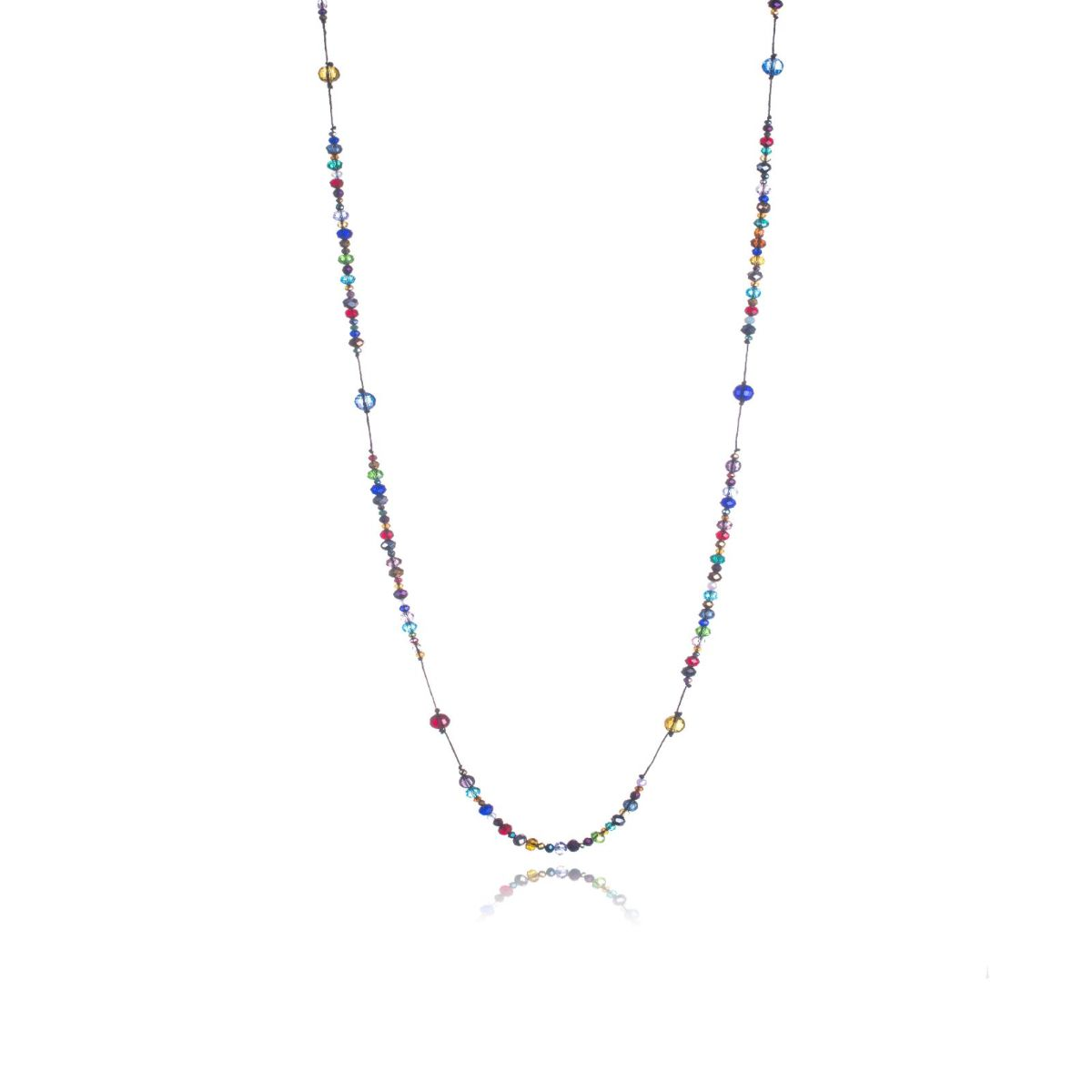Paris long string necklace with faceted Czech crystals of different sizes and colors