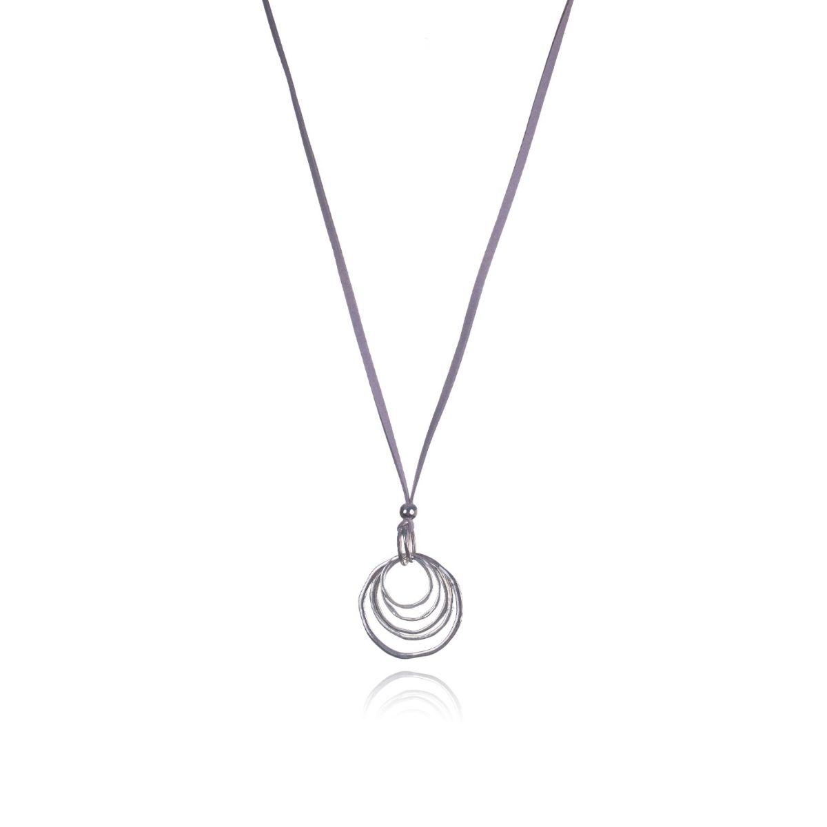 Ophelia long brown suede necklace with pendant of several silver-plated metallic circles
