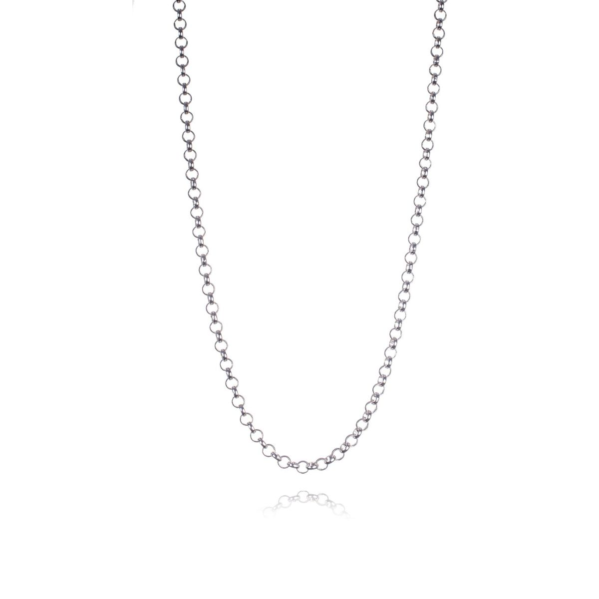 Mallorca long necklace small silver plated round link chain
