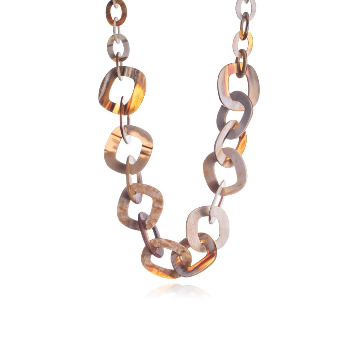 Castro long necklace natural horn light chain
