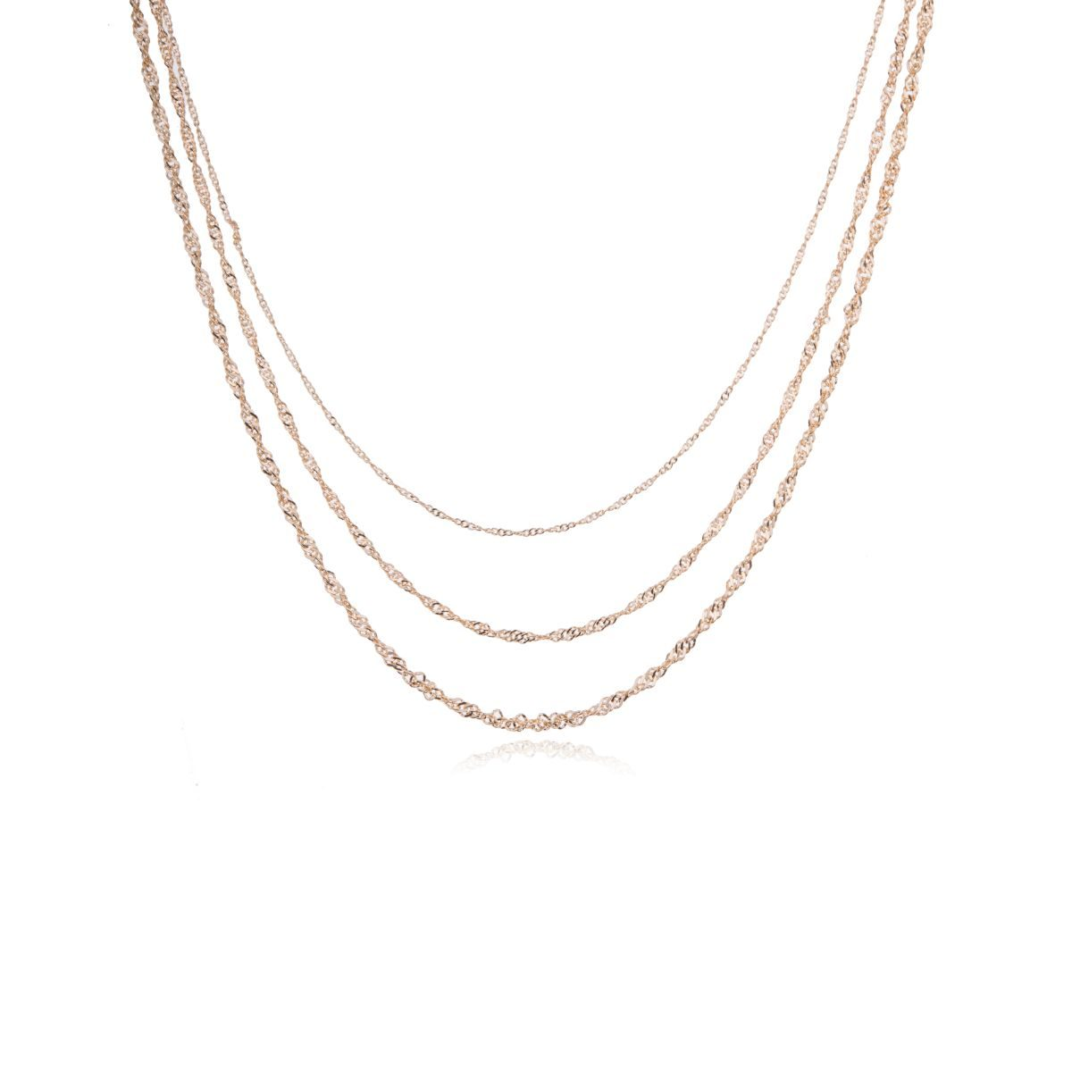 Venice short necklace with three chains at different heights and of different thickness, gold plated