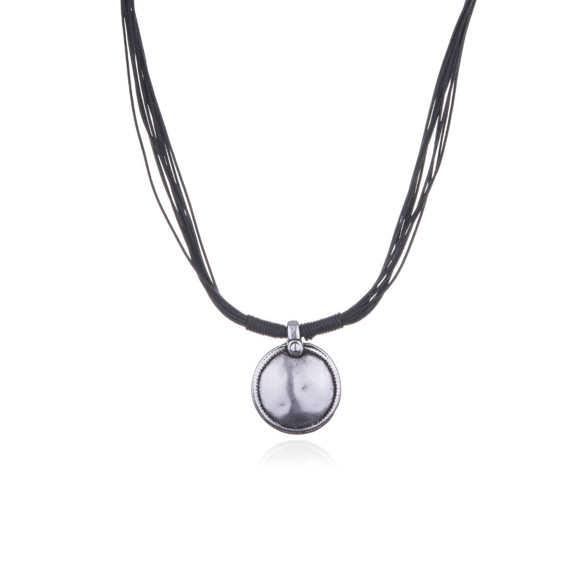 Selene short waxed cotton necklace with silver plated circular piece in the center