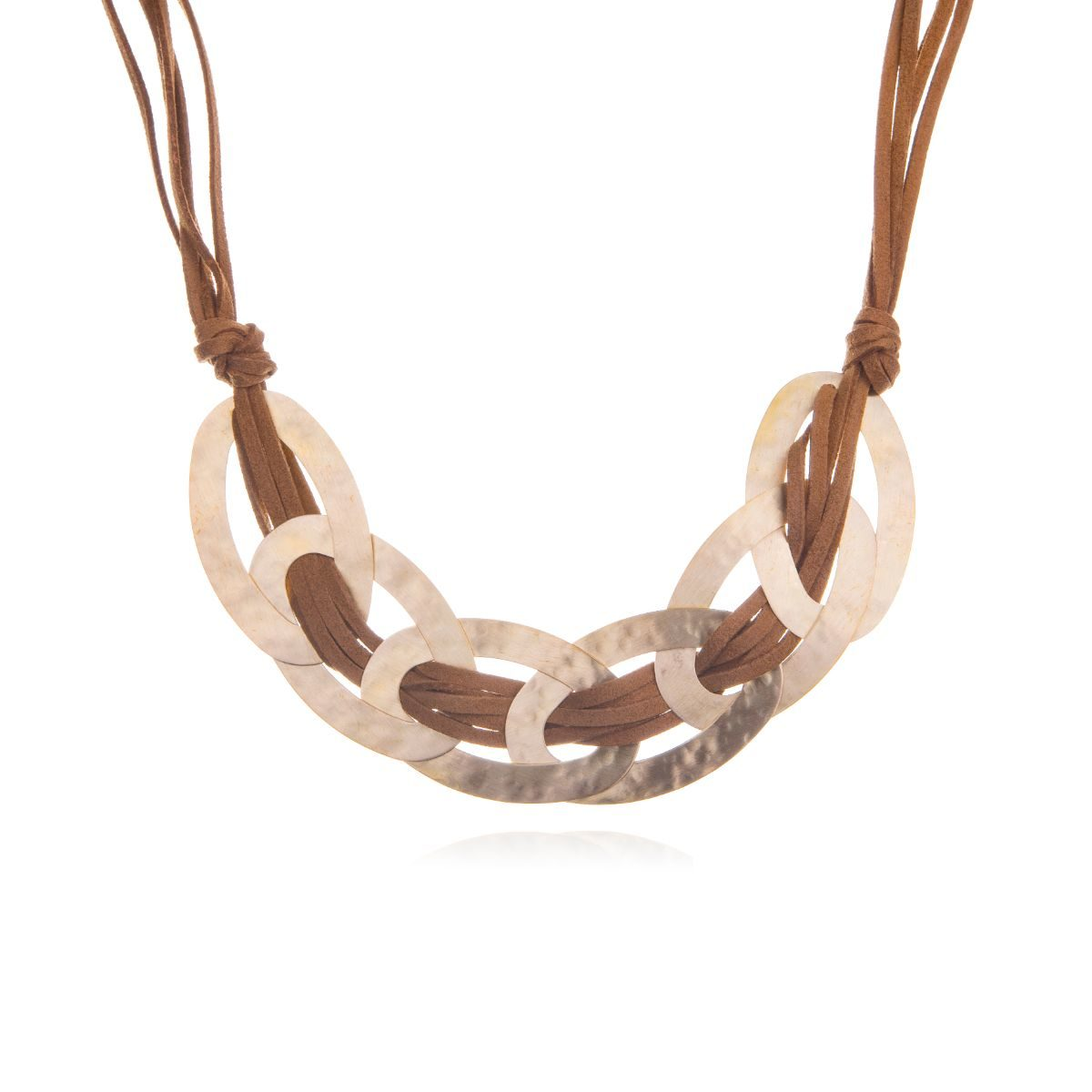 Barna short camel suede necklace with gold-plated brass ovals intertwined with the suede