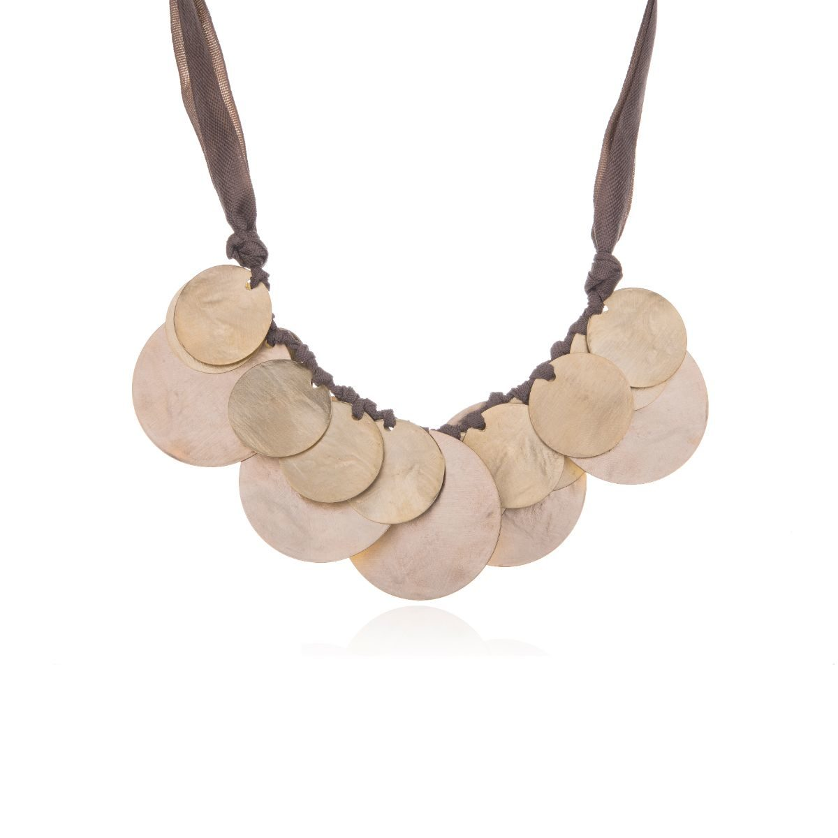 Medieval short chevron necklace with gold plated brass pieces in a circular shape on top of each other