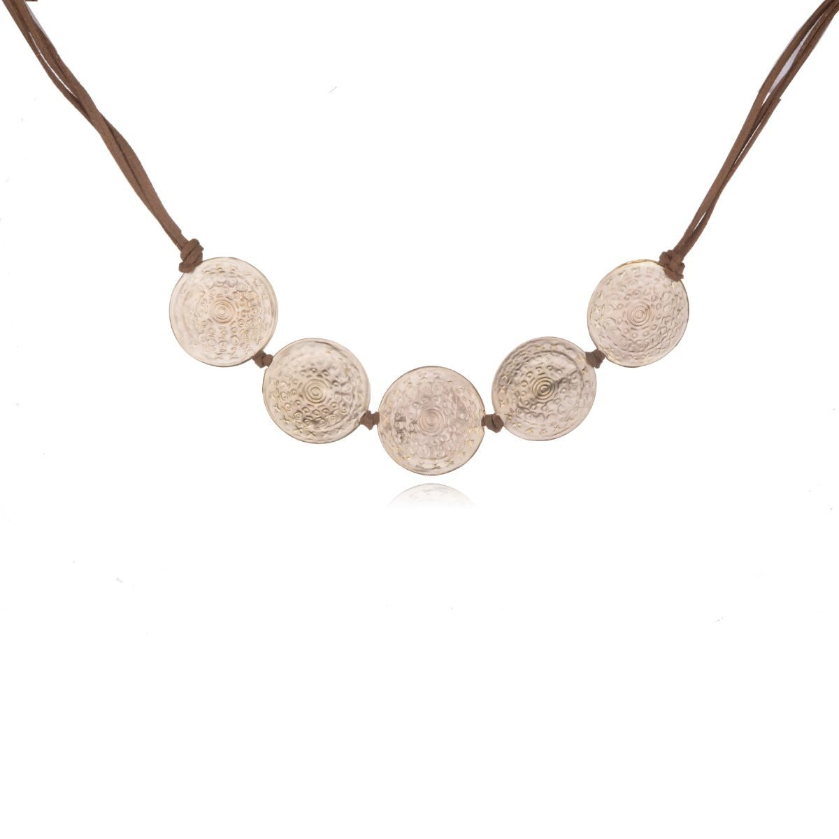 Marrakech short brown suede necklace with five gold plated and carved double brass pieces