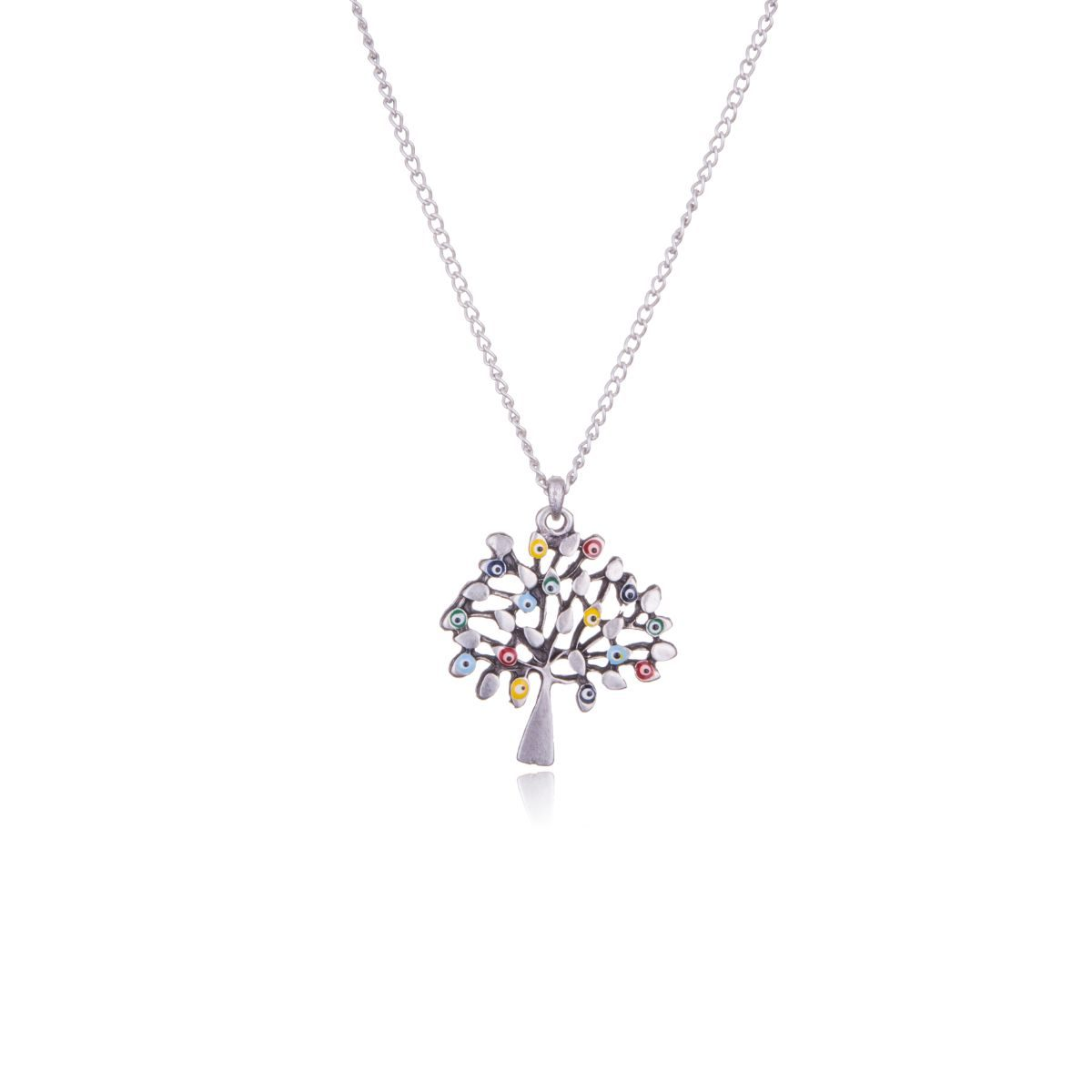 Athena short necklace in silver zamak with a tree-shaped pendant with some of its colored enameled leaves