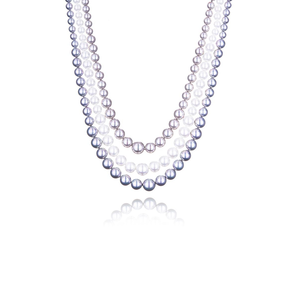 Corsica short three-strand necklace of majestic pearls in three different shades of silver