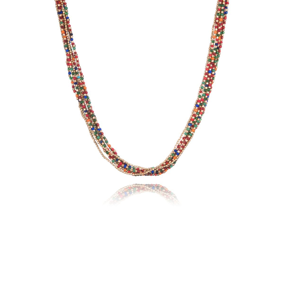 Ravenna short necklace with multitude of straps with multicolored and gold beads