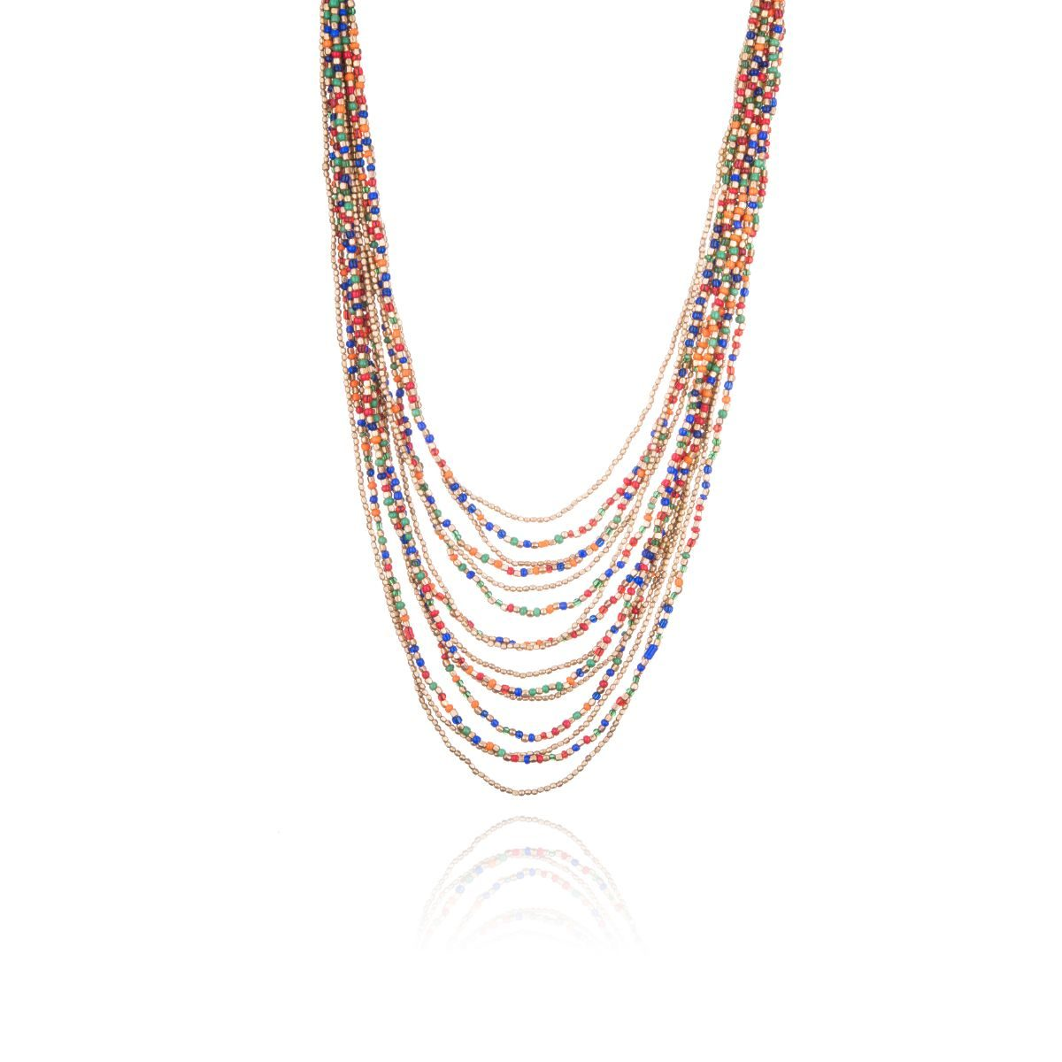 Thessaloniki short necklace with a multitude of straps with colored and golden beads of different sizes cascading