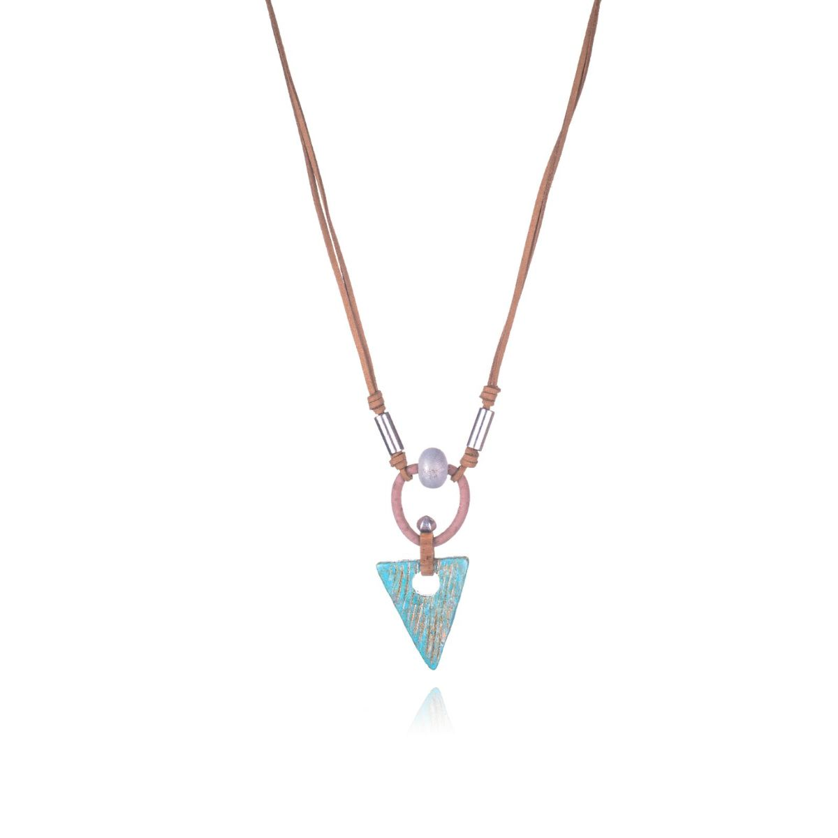 Dakar brown suede adjustable long necklace with triangular turquoise wood pendant