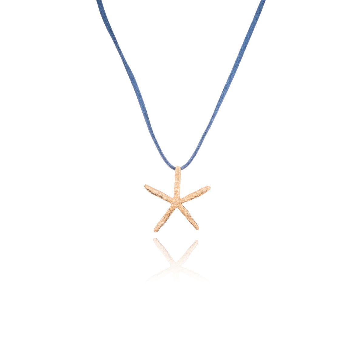 Marina collar corto de cinta elástica satinada con estrella de mar colgando bañada en oro mate