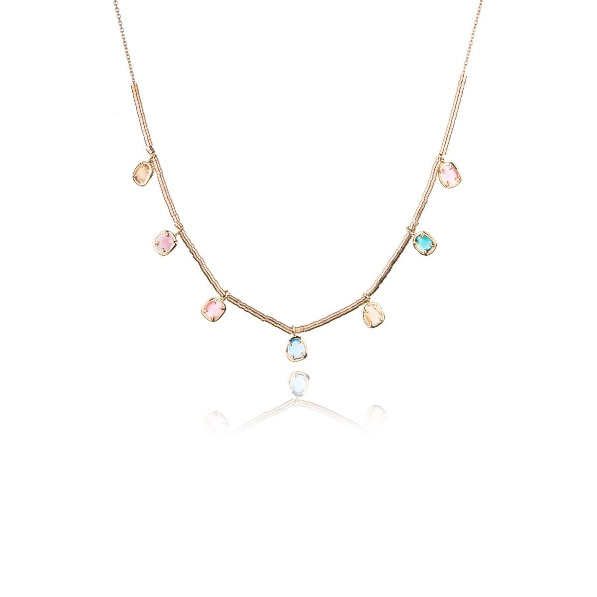 Chartres golden necklace with seven multicolored natural cat's eye stones set hanging