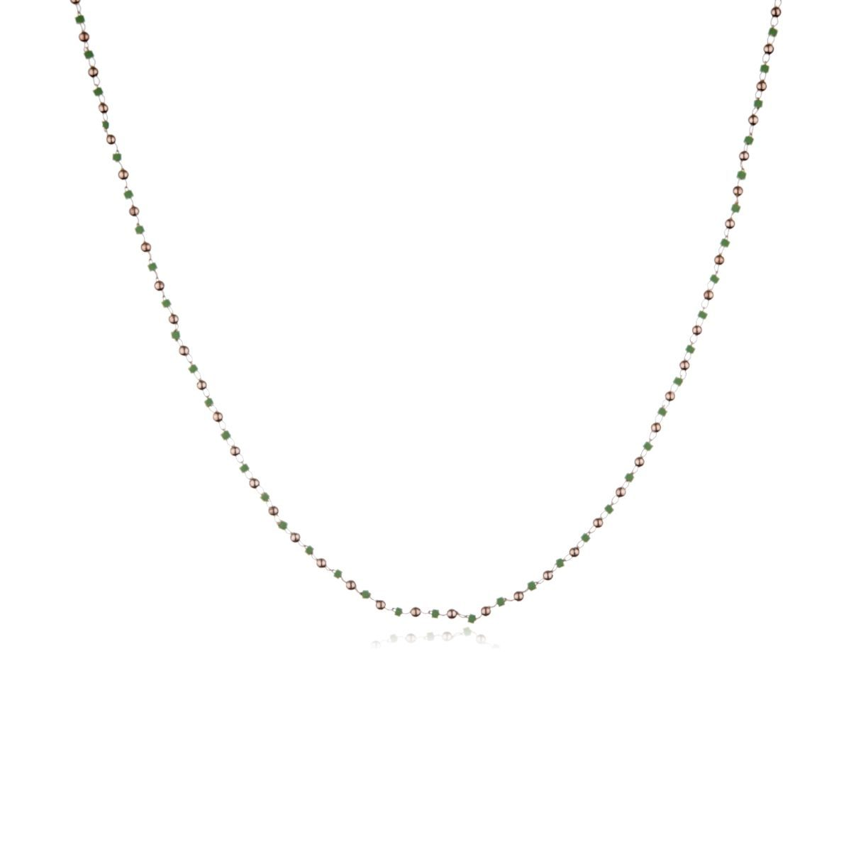 Costa Brava necklace with 8 karat gold finish and small green beads