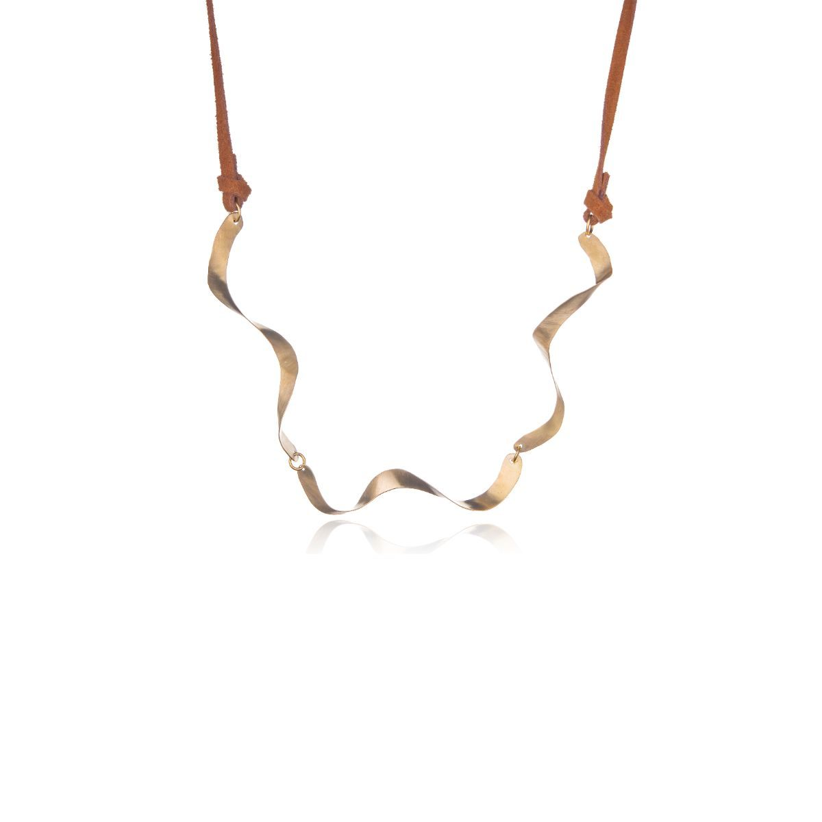 Sidney three-piece corkscrew necklace in gold-plated brass finished with brown suede