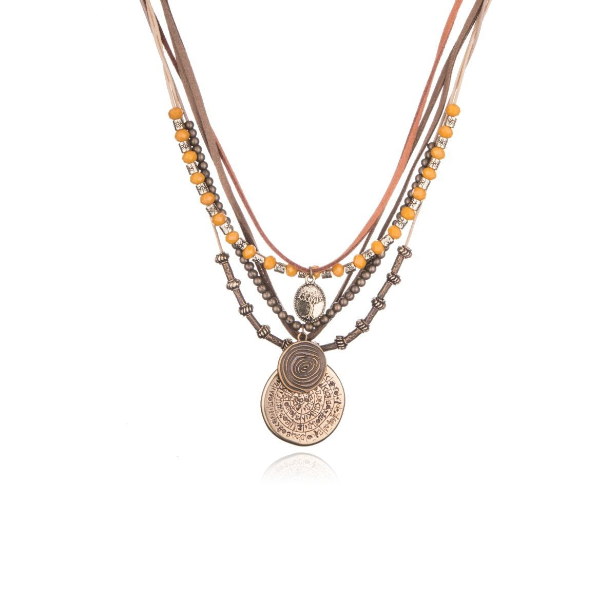 Buenos Aires short necklace with five different straps from which various medallions or beads hang in earth tones