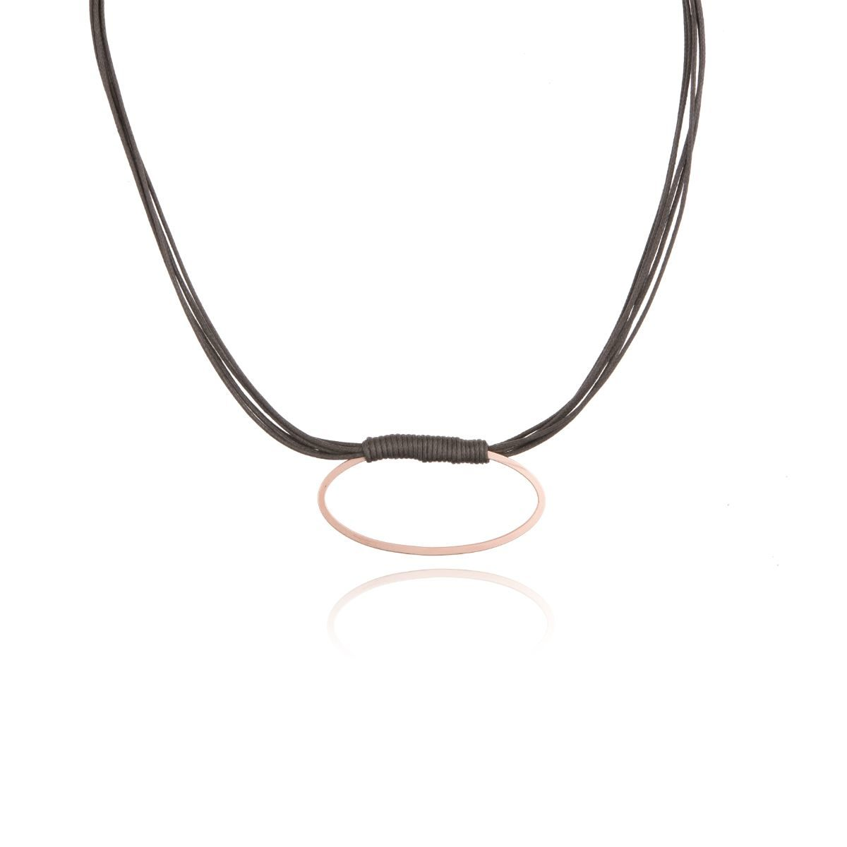 Velodrome short waxed cotton necklace with fine matt gold-plated metallic oval