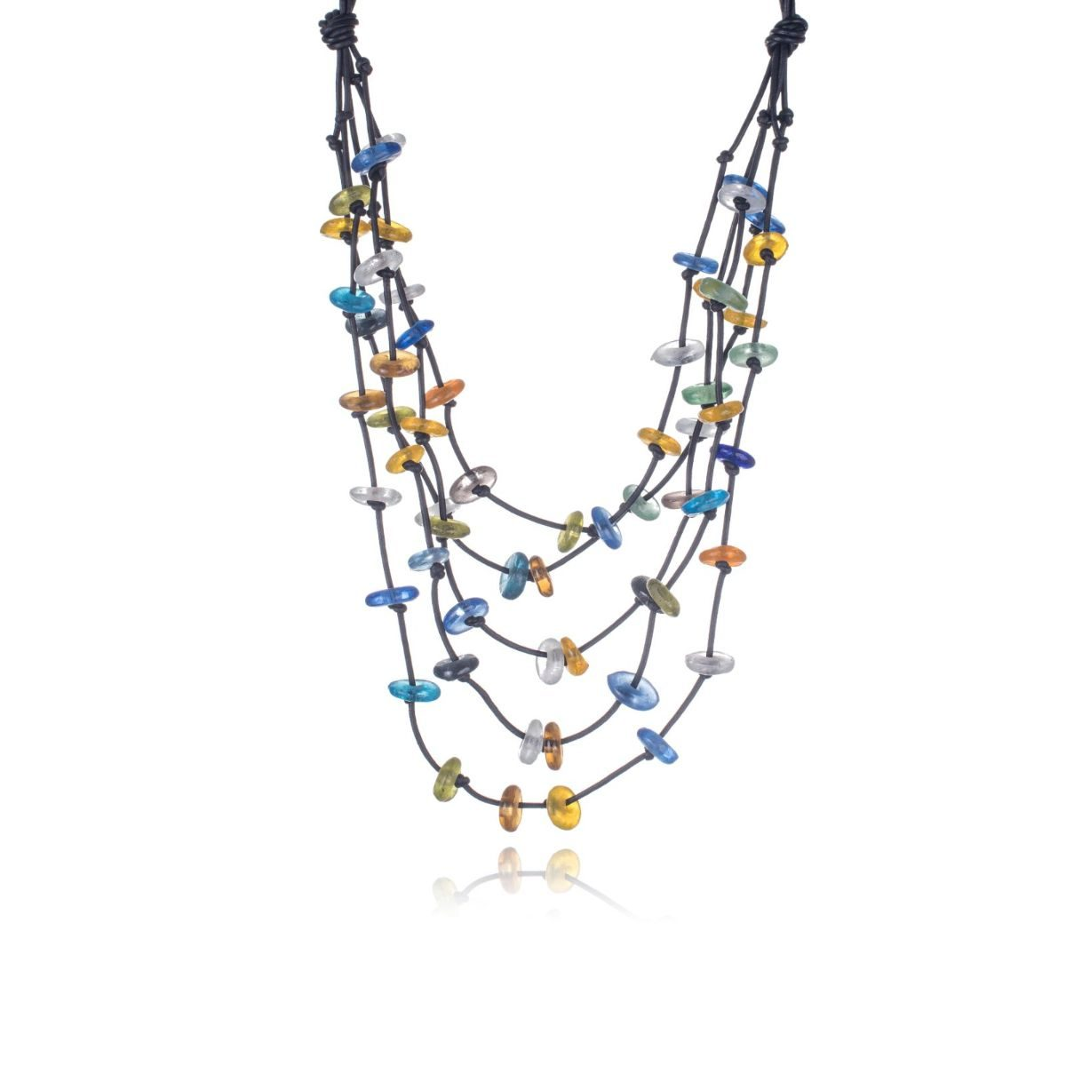 Manaus short black leather necklace with 5 stepped straps with multicolored rock crystal pieces