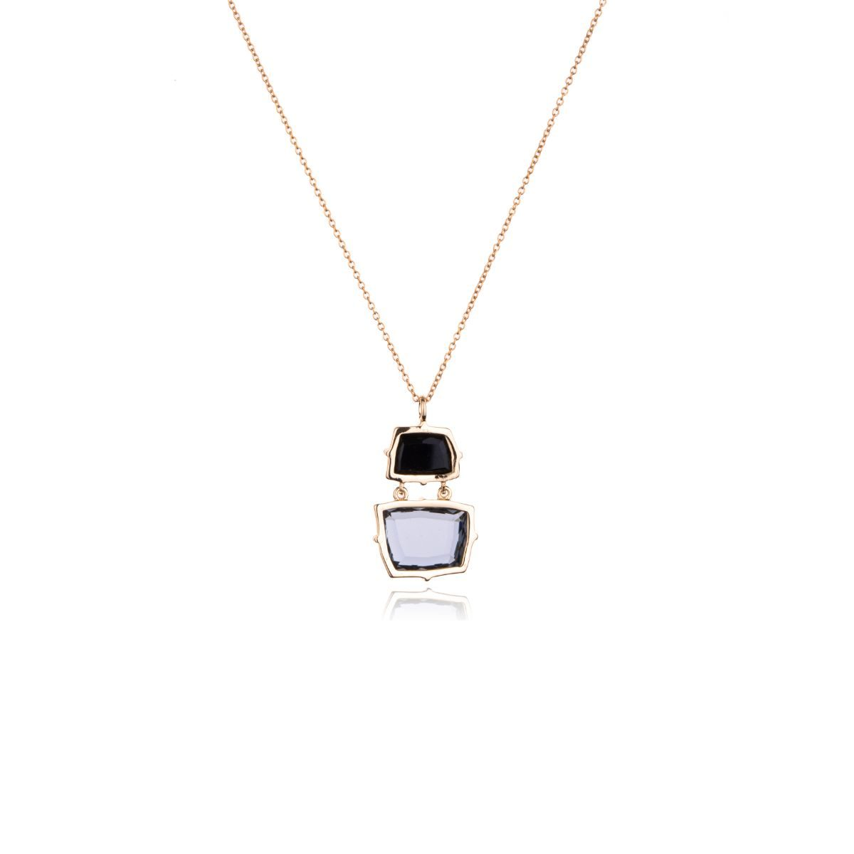 Veneto choker with a double faceted glass pendant in different colors with a square shape