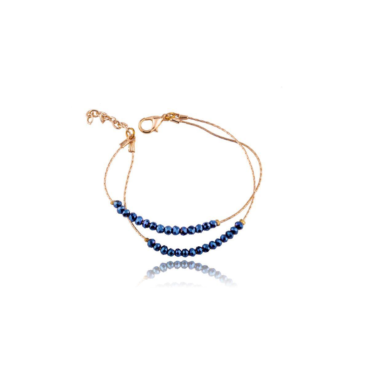 Oceanía pulsera fina de dos vueltas con cristales azules en cadenita acabada en dorado