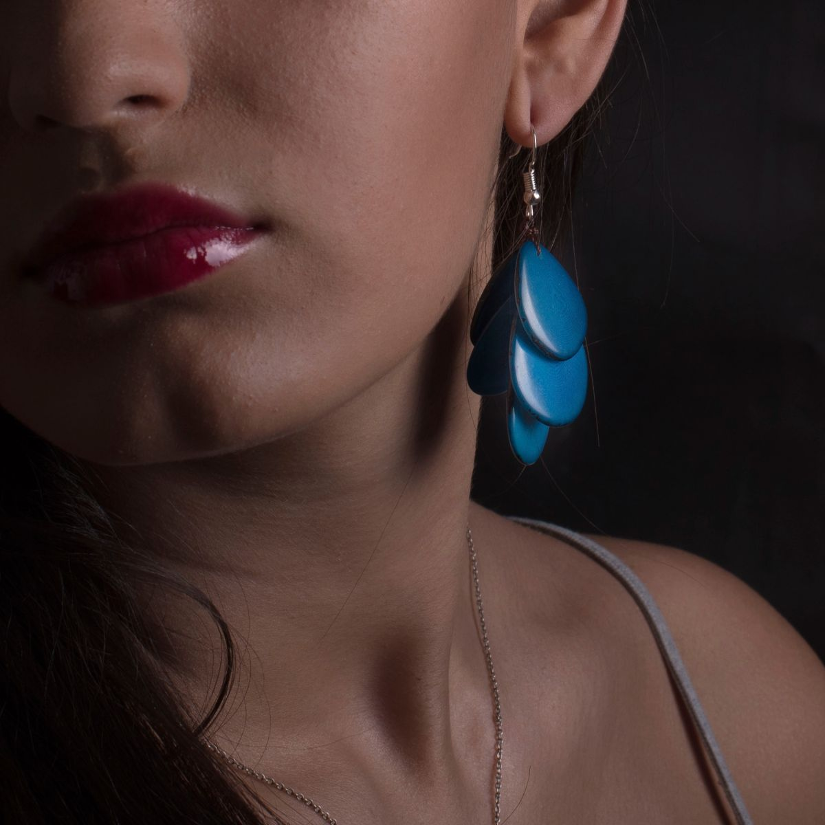 Long earring petals with five blue tagua seed blades