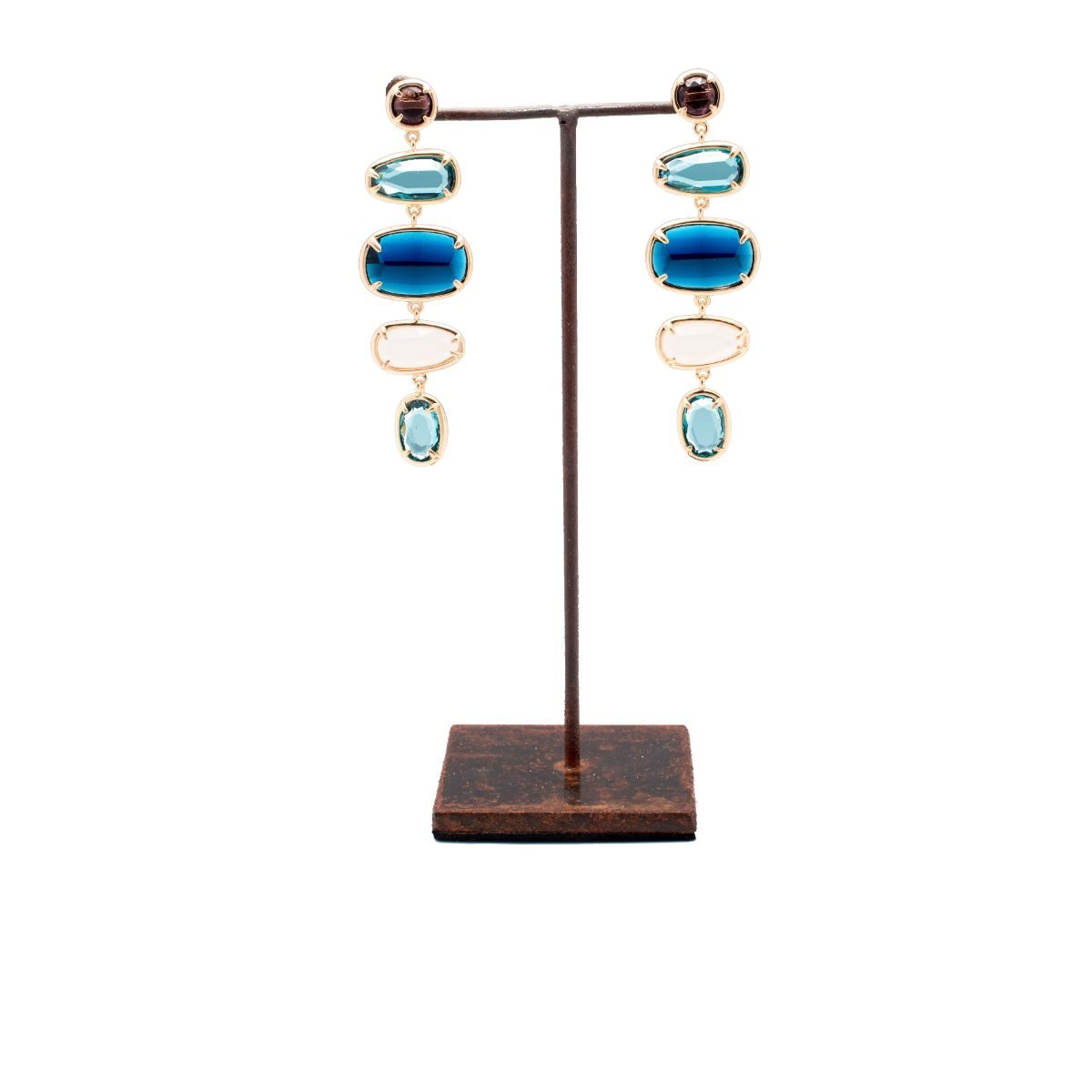 Hermitage long earring with snap closure and five multicolour crystals set in copper with a gold finish