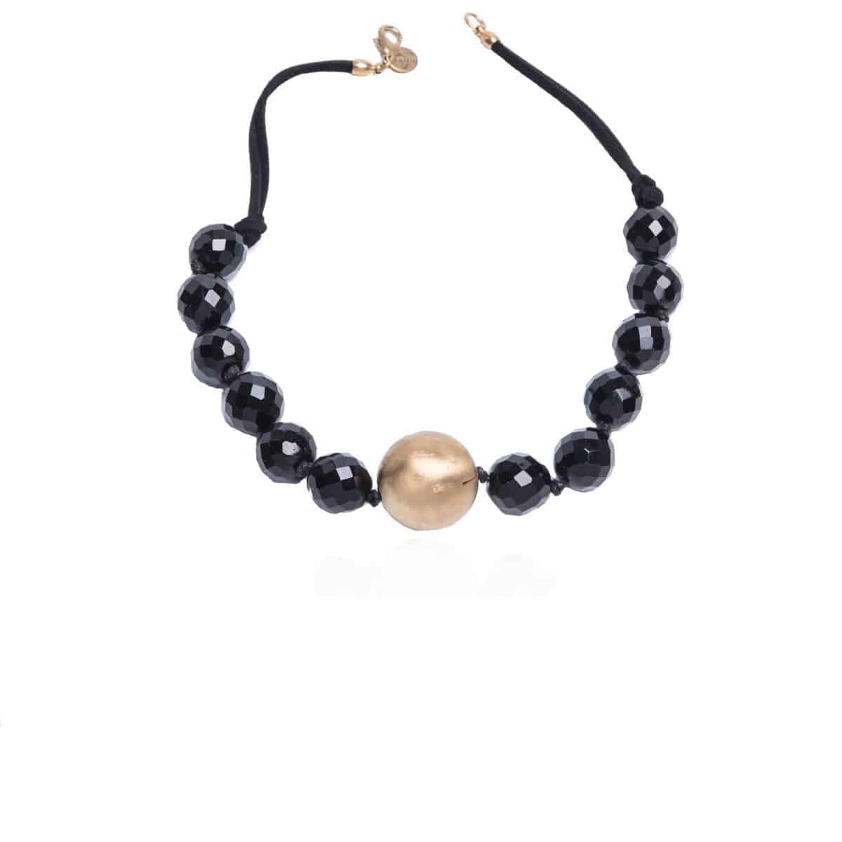 Brussels short necklace with black crystal pieces and a golden ball in the center