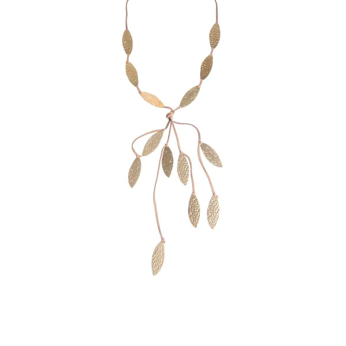 Salix long bowtie necklace with brown suede and elongated pieces with gold-plated notches