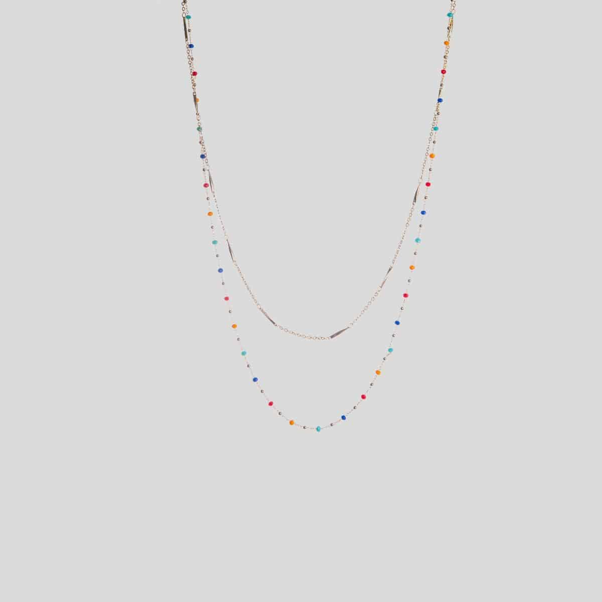 Seoul long necklace of two fine golden chains, the longest of which is interspersed with multi-colored faceted crystals