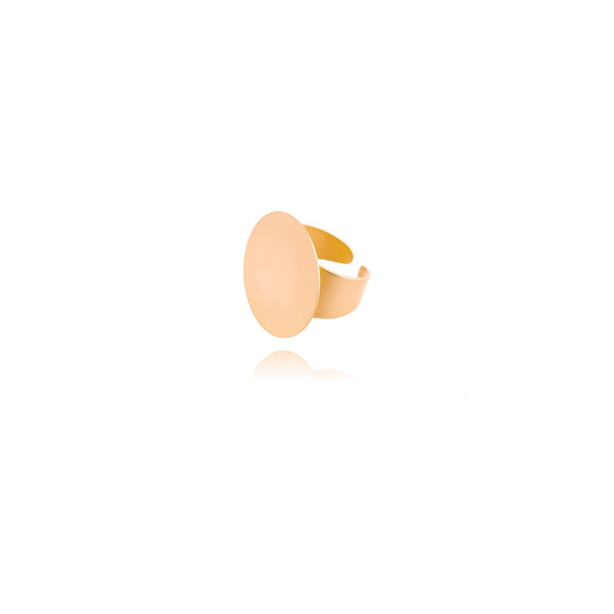 Hamal anillo ajustable de latón acabado en dorado mate con un círculo plano en la parte frontal