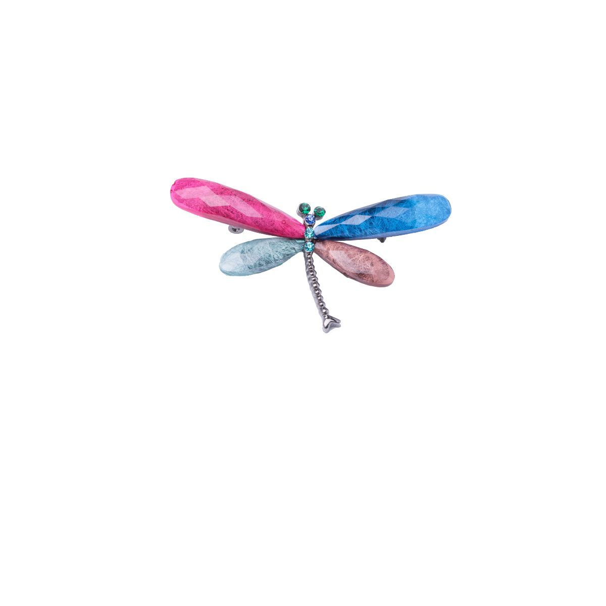 Libélula 7 cm dragonfly-shaped brooch with coloured methacrylate wings and small crystals set.
