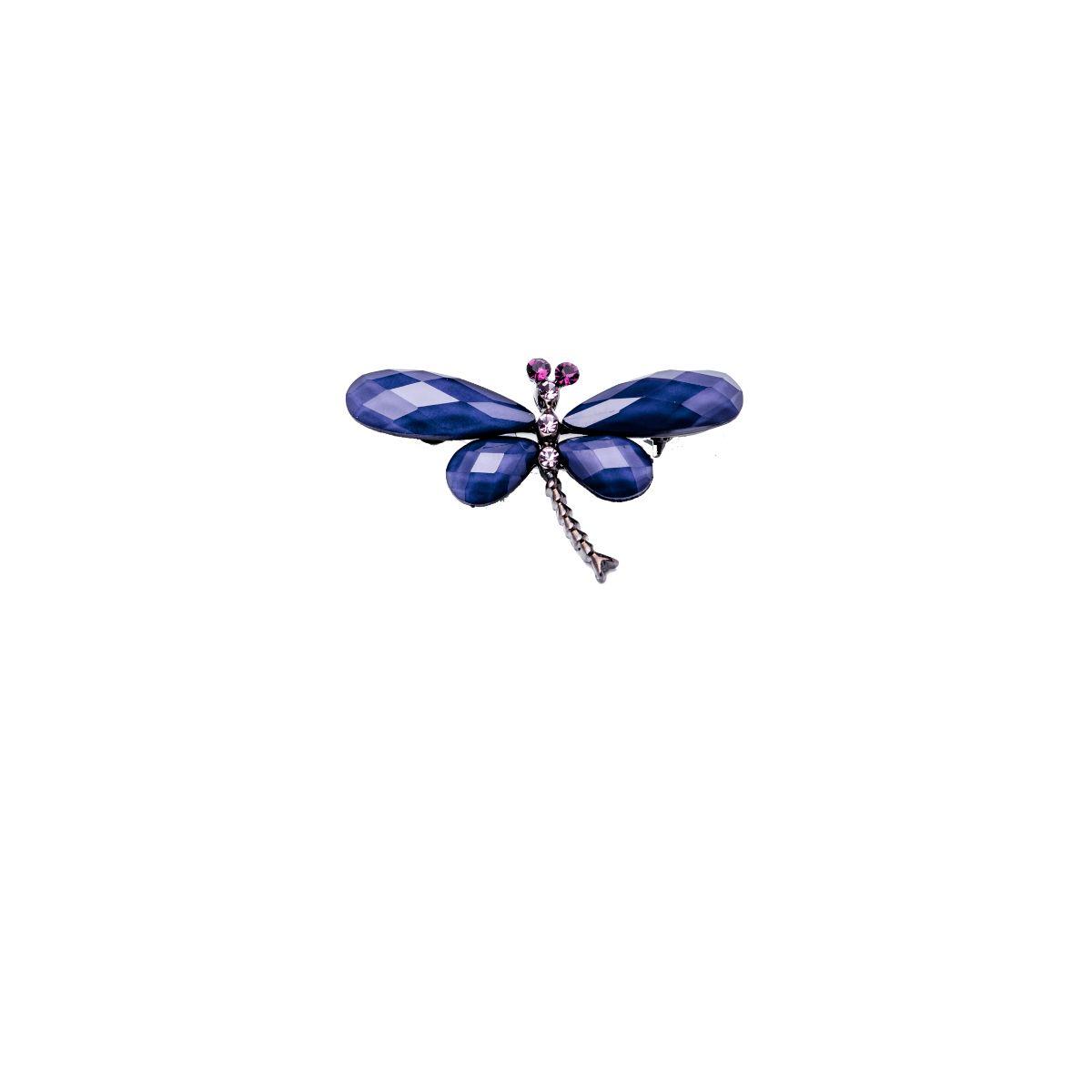 Libélula broche de 5 centímetros en forma de libélula con las alas de metacrilato de color morado y pequeños cristales engarzados