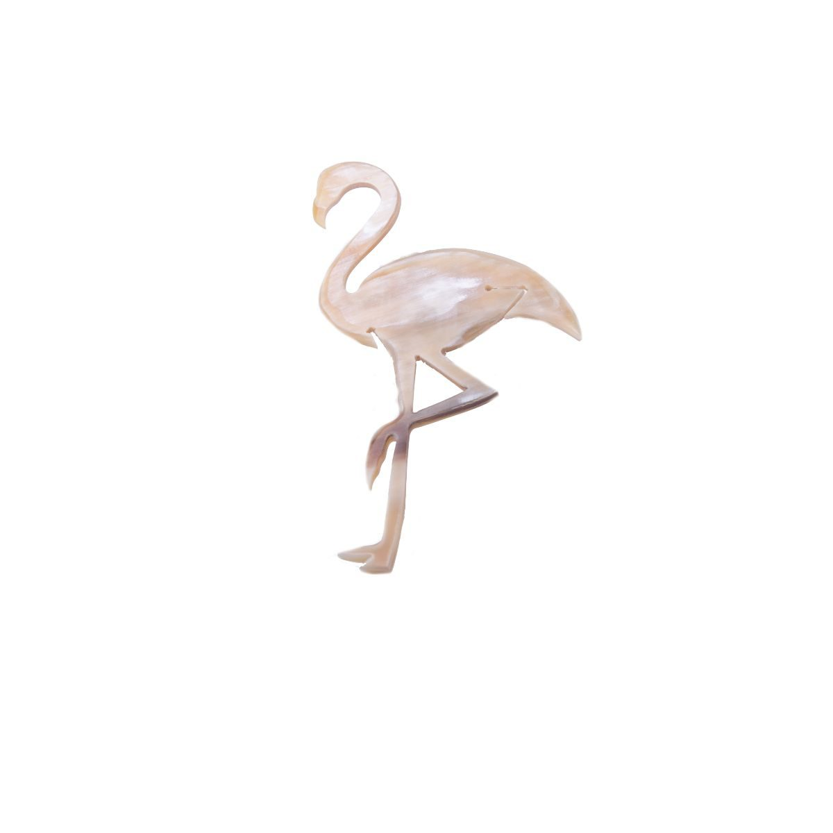Flamenco natural horn brooch in the shape of a flamingo.