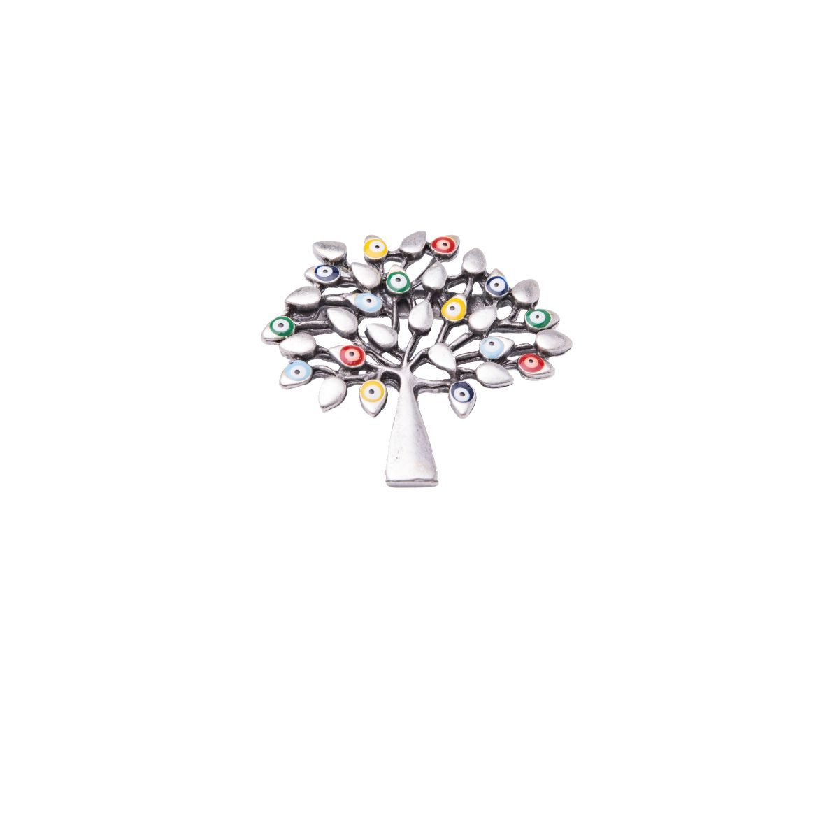 Éfeso silver zamak metal brooch in the shape of a tree with some of the leaves lacquered in colours.