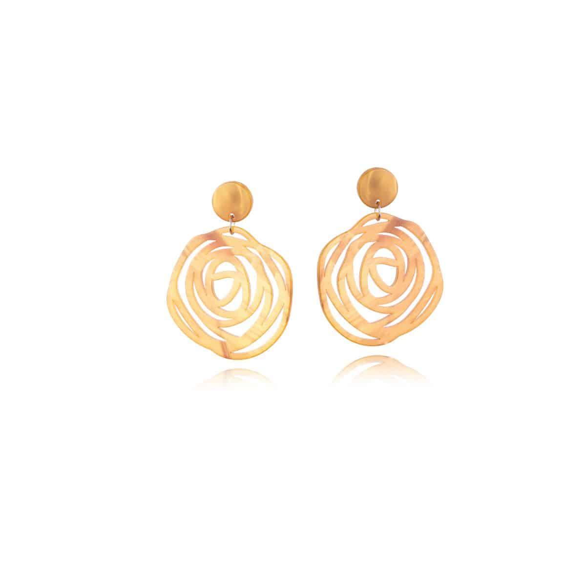 Twister earrings, yellow resin with openwork circular shape.