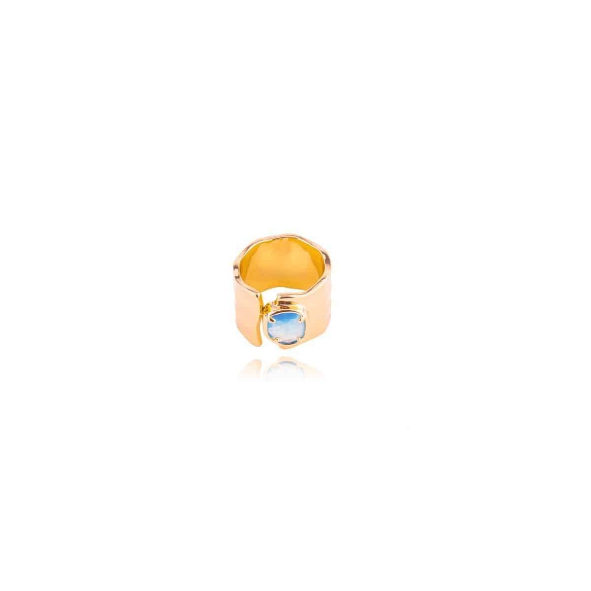 Farigola ring, 8k gold plated and with a natural blue cat's eye stone